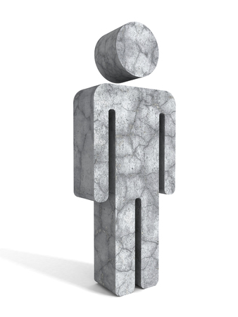 high end: Concrete stone business person icon on white background. 3d render illustration