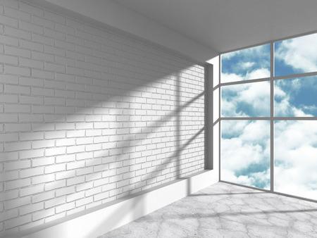 loft: White loft room with brick wall and big window. 3d render illustration