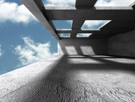 architecture design: Concrete architecture background. Abstract Building modern design. Cloudy sky. 3d render illustration Stock Photo