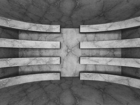 showrooms: Concrete dark empty room interior. Geometric minimalistic architecture background. 3d render illustration