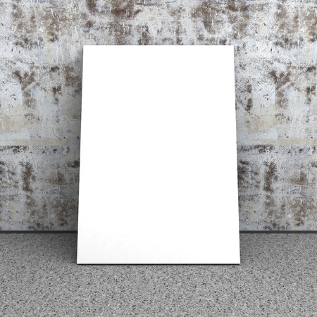 plafond: Blank white poster in empty interior. Concrete wall, stone floor. 3d render illustration