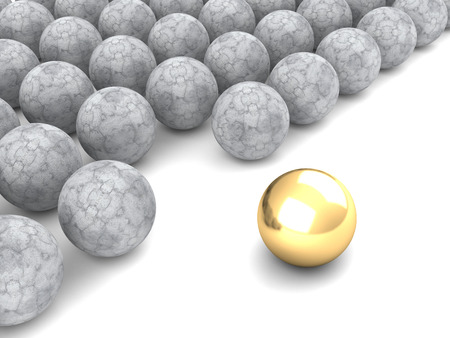 members only: Concept leader golden sphere. Business success. 3d render illustration Stock Photo