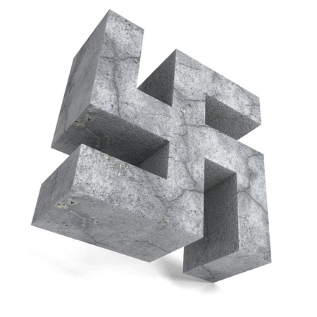 swastika: Stone concrete swastika symbol on white background. 3d render illustration
