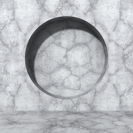 skylight: Concrete wall. Round design hole element. Urban architecture background. 3d render illustration