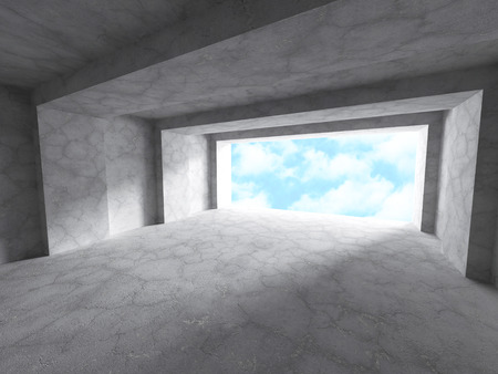 constraction: Abstract Architecture Tunnel Constraction Concrete Background. 3d Render Illustration