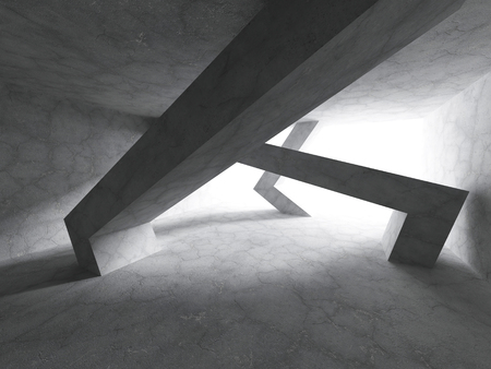 showrooms: Abstract Chaotic Concrete Construction. Tunnel Architecture Background. 3d Render Illustration