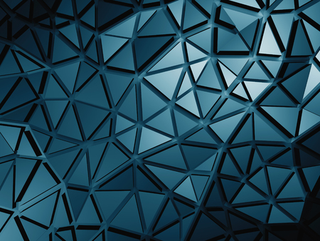 meshed: Dark Blue Metallic Silver Triangle Poligon Pattern Background. 3d Render Illustration Stock Photo