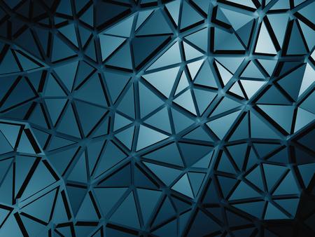 meshed: Dark Blue Metallic Silver Triangle Poligon Pattern Background. 3d Render Illustration Stock Photo