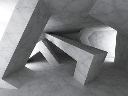 darck: Darck Concrete Architecture Background. Geomewtric Chaotic Construction. 3d Render Illustration