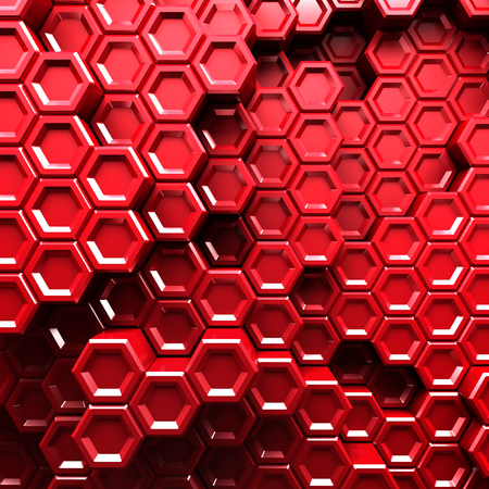 Abstract Hexagon Pattern Red Background. 3d Render Illustration Stock Photo