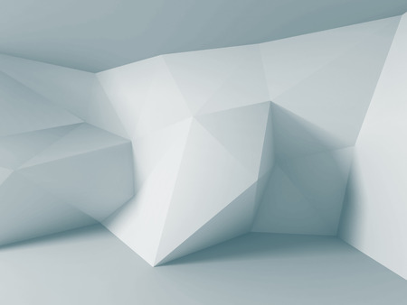 render: Abstract white triangle wall background. 3d render illustration Stock Photo