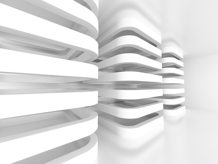 Architecture Abstract Design White Background. 3d Render Illustration Stock Photo