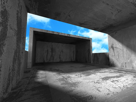 celling: Concrete walls empty room interior. Abstract architecture with sky background. 3d render illustration