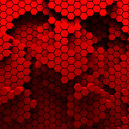 red metal: Hexagon Abstract Chaotic Red Bricks Wall Background. 3d Render Illustration Stock Photo