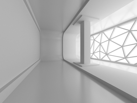 tron: Abstract interior With Big Window. 3d Render Illustration