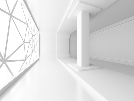 tron: Empty White Room Interior With Window. Architecture Background. 3d Render Illustration Stock Photo