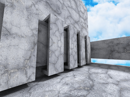 skylight: Abstract Concrete Architecture on Sky Background. 3d Render Illustration