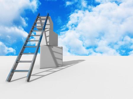 Success ladder on top of cubes. Sky backgeound. Business concept 3d render illustration