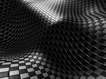 meshed: Abstract Shiny Silver Metal Checker Background. 3d Render Illustration Stock Photo