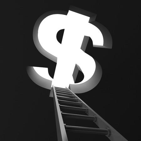 Success ladder to big dollar symbol hole. Business concept. 3d render illustration Stock Photo