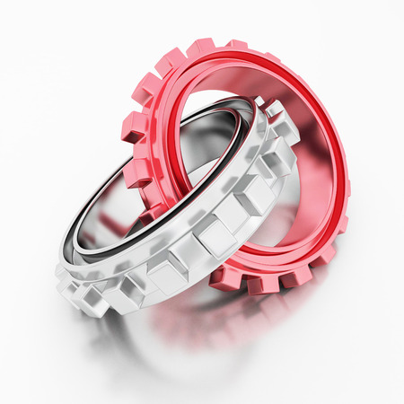 Red different and silver glossy cogwhell gears. 3d render illustration Stock Photo