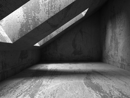 basement: Dark concrete room basement interior. Abstract architecture background. 3d render illustration Stock Photo