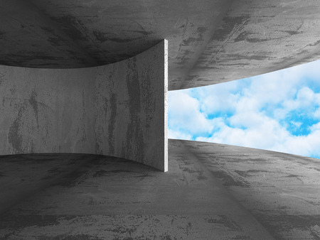 stockroom: Abstract Concrete Architecture Construction on Sky Background. 3d Render Illustration
