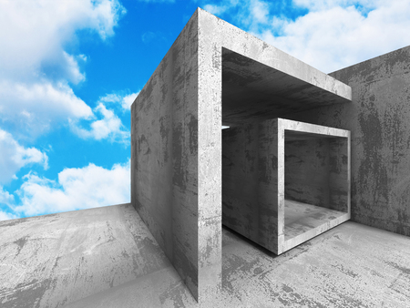 frontal: Concrete geometric architecture urban background. 3d render illustration