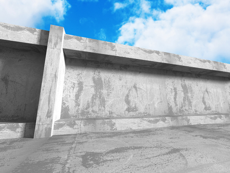 frontal: Concrete abstract architecture on cloudy sky background. 3d render illustration Stock Photo