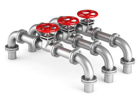 Three pipes and oil valves on white background. 3d render illustration