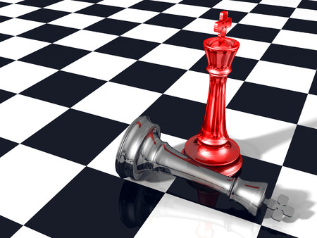 enforce: Winning success concept with two glass chess kings. 3d render illustration Stock Photo