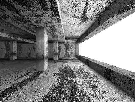 basement: Dark urban empty concrete room basement interior. Architecture background. 3d render illustration Stock Photo