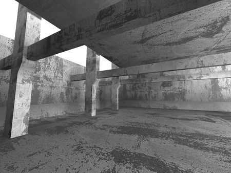 frontal: Abstract Empty Concrete Wall Room Interior Background. 3d Render Illustration