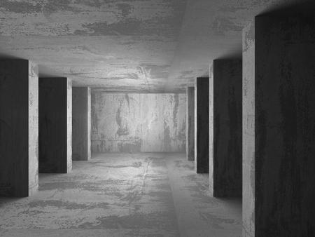 frontal: Dark empty basement concrete room interior. Minimalistic architecture background. 3d render illustration
