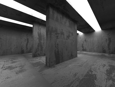 concrete background: Abstract Concrete Architecture Background. Empty Dark Room With Light. 3d Render Illustration