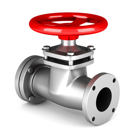 Red metal valve on white background. 3d render illustration