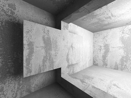 showrooms: Abstract concrete empty dark room interior. Architecture background. 3d render illustration