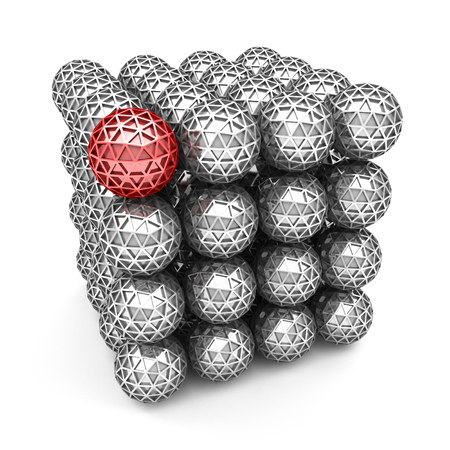 Leadership concept with red glossy sphere. Business leader of team. 3d render illustration