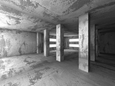 interior cell: Empty dark abstract concrete room interior architecture background. 3d render illustration Stock Photo
