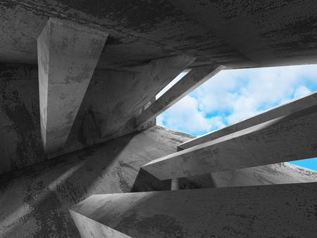 moody sky: Concreto costruzione architettura muro su sfondo cielo poco nuvoloso. 3d rendering illustrazione