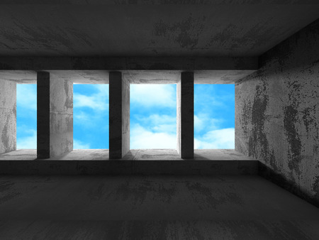 skylight: Geometric architecture background. Concrete walls room with cloudy sky. 3d render illustration Stock Photo