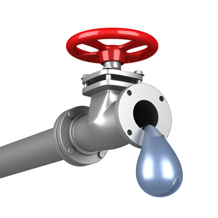 drinkable: Dripping pipe with red valve on white background. 3d render illustration
