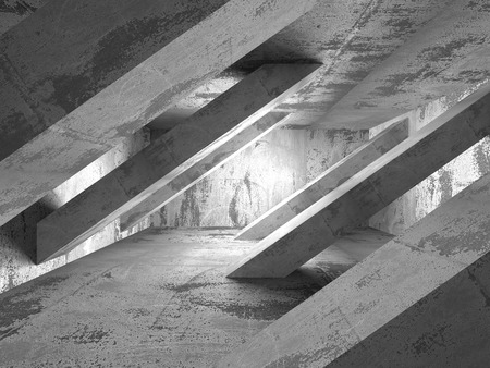 abandoned house: Abstract dark room with concrete walls. Architecture background. 3d render illustration
