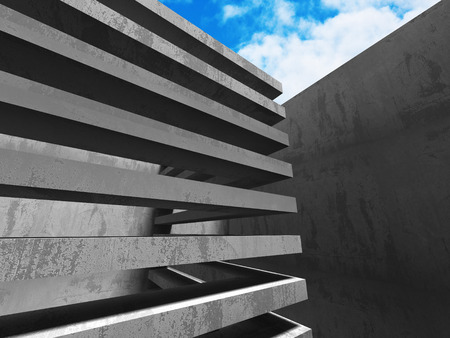 skylight: Concrete abstract architecture on cloudy sky background. 3d render illustration Stock Photo