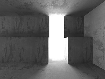 basement: Dark concrete basement room interior with light door. 3d render illustration Stock Photo