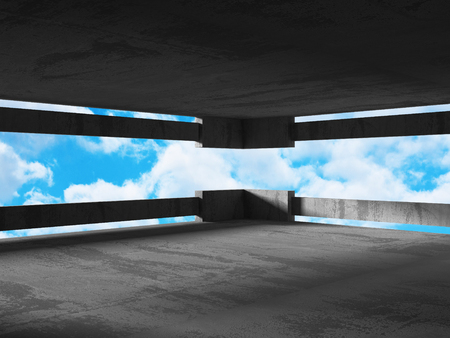 moody sky: Concrete room wall construction on cloudy sky background. 3d render illustration