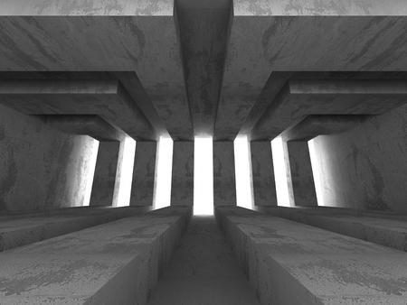 basement: Dark Empty Concrete Basement Room Interior Background. 3d Render Illustration