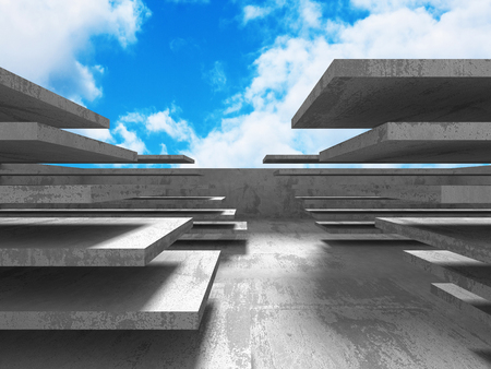 moody sky: Concrete architecture wall construction on cloudy sky background. 3d render illustration