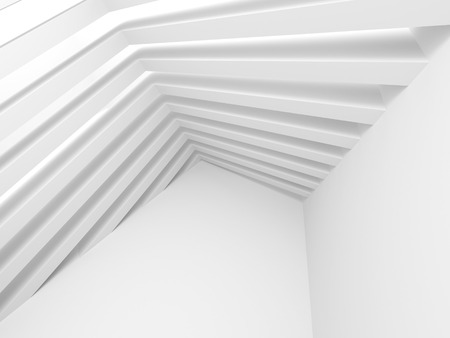 pitched roof: Abstract White Interior. Architecture Background. 3d Render Illustration