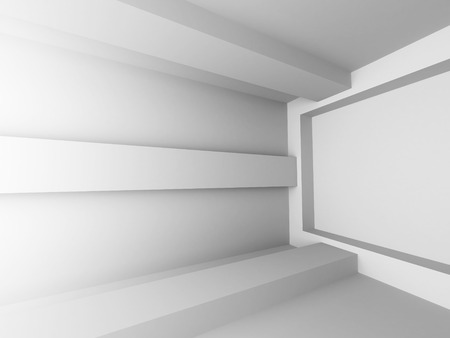 Abstract White Interior Architecture Design Background. 3d Render Illustration